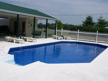 Nashville house rental - Pool gets sun all day, but the 24x48 covered pavilion provides shade all day.
