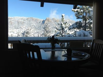 Warm breakfast with a brisk view to start your day in Estes Park!