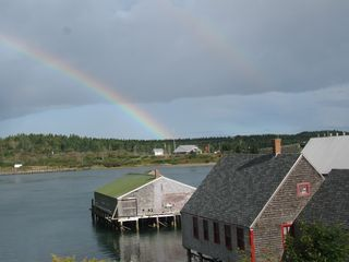 Lubec cottage photo - Double Rainbows over McCurdy Smokehouse in the Village