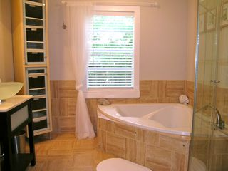 Lakeway cottage photo - Spa bath downstairs has separate shower and tub for two.