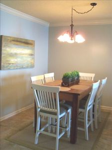 Dinning Room with Beautiful Custom Made Pine Table and Seating for Six