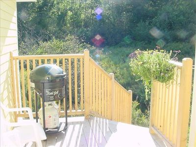 Back deck w/gas grill & 2 chairs looks across brook to greenery. Watch the birds