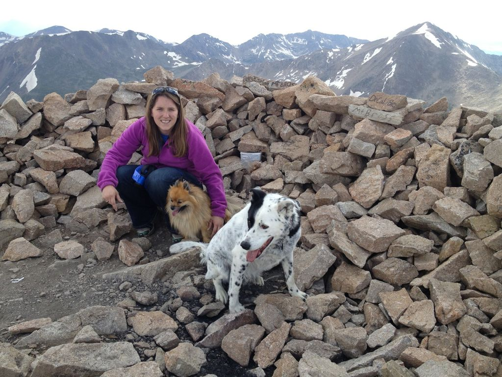 The owner and her dogs at the top of nearby 14er Mt. Bross.