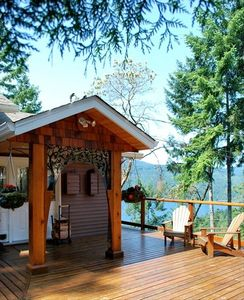 Front entrance with spectacular views of Sechelt Inlet.
