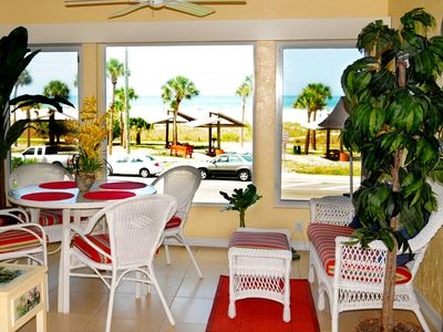 The lanai has beautiful views of famous Siesta Beach and Gulf of Mexico