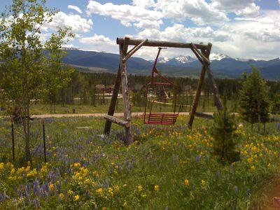 Ski swing nestled in wildflowers in June. This is part of our land.