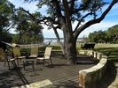 Tree well patio with hammock and tree swing overlooking the yard and lake