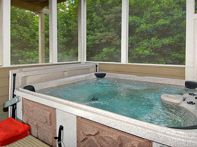 Gatlinburg chalet rental - NEW HOT TUB ON SCREENED PORCH OFF OF GAME ROOM