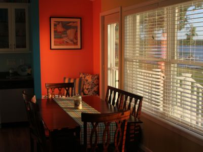 Sun setting over the dining room area