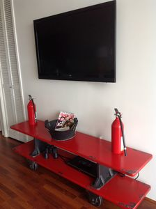 HDTV for your entertainment, when things get hot extinguishers readily available