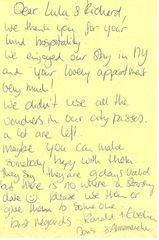 Brooklyn townhome photo - lovely note from guests