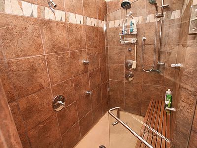 Walk in Shower with 9 shower heads!