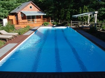 East Hampton house rental - Pool area with pool house and outdoor shower