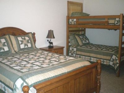 2 Guest rooms have queen beds and twin bunks, tv and dvd players.