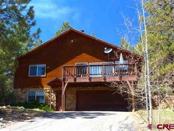 Pagosa Springs cabin rental - Front entry with paved drive into enclosed garage