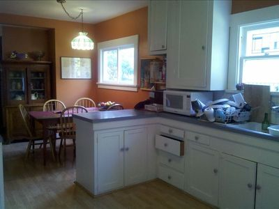 half the kitchen and eating space