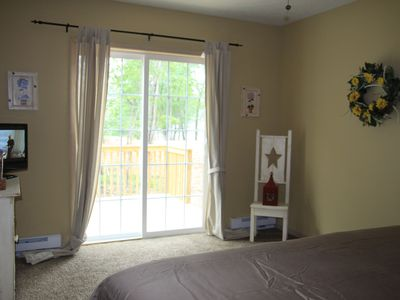Albrightsville chalet rental - Master Bedroom, Sliding Door to Private Deck