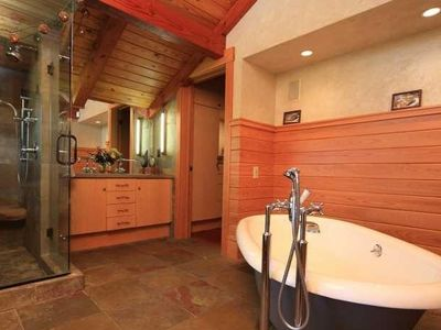 Master Bath w/ Spiral Staircase to Patios