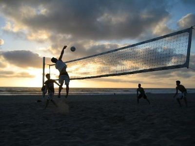 Volleyball at sunset. Play or watch, late afternoon on the beach is the best.