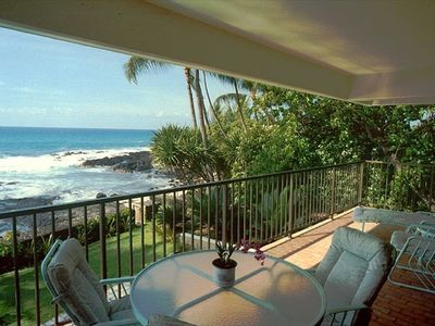 Enjoy Kona coffee and watch the ocean from your private lanai at Hale Pohaku