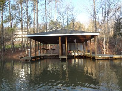 Lake Gaston house rental - Two boat slips, two jet ski lifts and a large deck