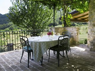 Spoleto house photo - The kitchen terrace looking out to the valley