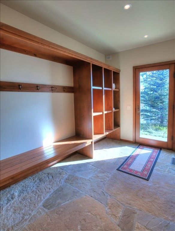 Perfect mud room for all your ski and snowboard equipment.