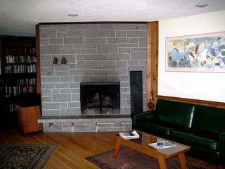 North Conway estate photo - Fireplace w/ wood & kindling