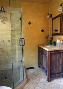 Master bathroom (shower only) with a rain can shower head