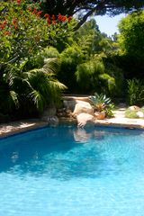 Santa Barbara house photo - Spa & Waterfall into Pool. Stone Patio. Private Yard. Spa-side & patio speakers