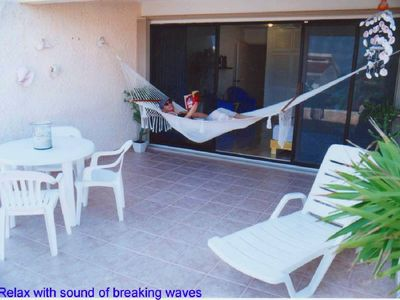 "Condos porch only 30 meters from the beach (condo ""A"")"