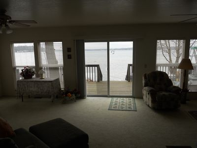 Living Room View to Lake/Walk Out Deck