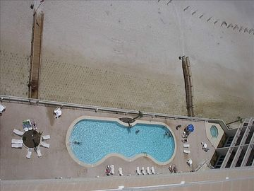 View of the swimming pool from your balcony