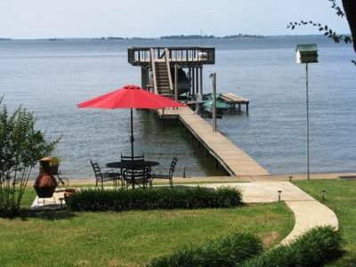 Walk down the steps to play in the water! Or relax in the shade and watch!