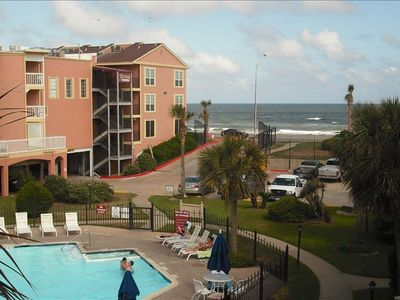 Galveston condo rental - Balcony View of the Pool and Gulf