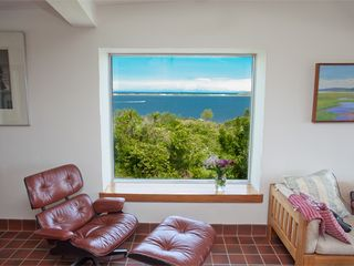 Chilmark house photo - Living room with view of Menemsha Pond