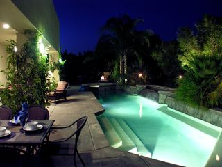 Palm Springs house photo - Poolside dining at night