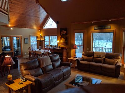 Family Room with Dining area and porch in background