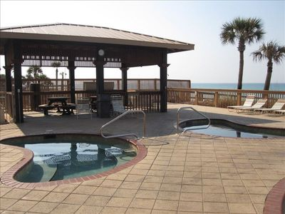 Gulf Crest hot tubs and grill area.