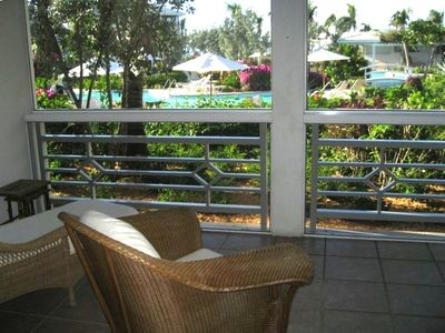 View of the pool from the screened terrace of Suite 516 --Junior Suite rental