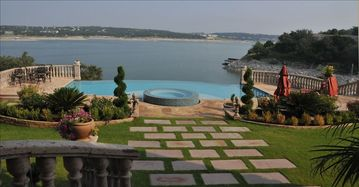 Lakeway villa rental - Panorama view of infinity pool and edgeless spa.