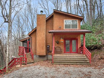 Maggie Valley house rental - You have arrived at the treehouse. A frontal view of Fernbrook in Winter.