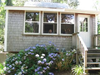 Wellfleet cottage photo - Entrance to enclosed porch