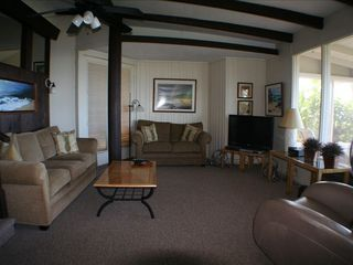 Haleiwa cottage photo - Living room with lots of seating w/ Beach and Ocean views large screen TV