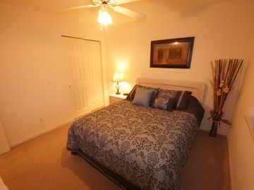 The 2nd Bedroom offers a comfortable Queen Sized Bed and Ceiling Fan