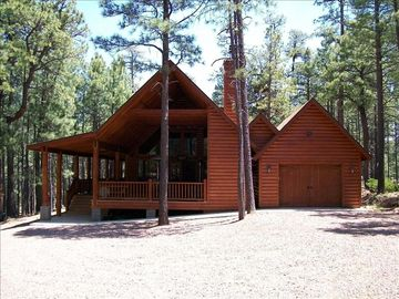 Forest Lakes cabin rental - From the Driveway.... Cabin backs to the Mountain Preserve.