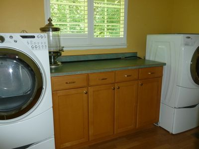 Laundry room with front loading Washer and Dryer for everyones use.