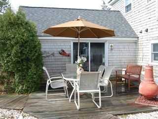 East Sandwich house photo - Enjoy breakfast on the outside patio