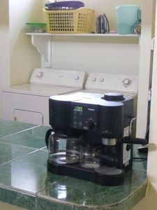 MODERN APPLIANCES, including washer, dryer, coffee maker, microwave, & blender.