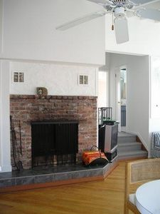 Fireplace in kitchen/living room